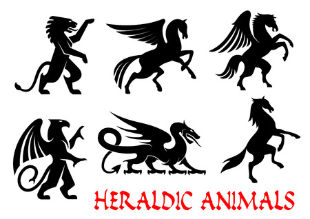 tribal dragon: Heraldic animals icons. Pegasus, Griffin, Dragon, Lion, Horse, Unicorn outline silhouettes for tattoo, heraldry or tribal shield emblem. Fantasy gothic mythical creatures. Vector graphic elements