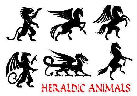 Heraldische dieren pictogrammen. Pegasus, Griffin, Draak, Leeuw, Paard, Eenhoorn schets silhouetten voor tatoeage, wapenkunde of tribale schild embleem. Fantasie gothic mythische wezens. Vector grafische elementen Stock Illustratie