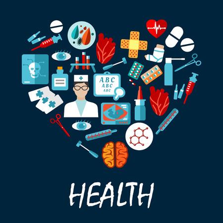 forme et sante: symboles médicaux d'affiches infographique en forme de coeur. icônes vectorielles de la seringue de l'équipement de soins de santé, scalpel, infirmière, pilule, dent, x-ray, stéthoscope, ambulance, sang, capsule onguent