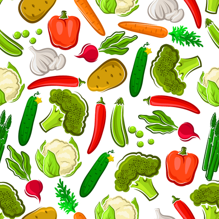cauliflower: Vegetables seamless background. Wallpaper with vector pattern icons of fresh farm vegetarian carrot, cauliflower, broccoli, asparagus, pepper, cucumber, chili for grocery store, food market, product shop