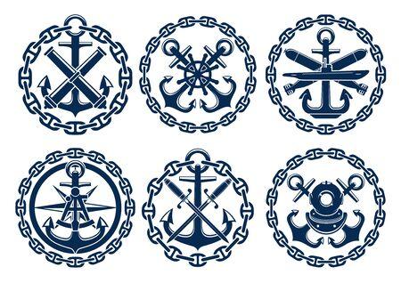 Marine et emblèmes nautiques, des icônes, des badges. éléments d'insignes graphiques de l'ancre, chaîne, volant, sous-marin, sextant, bombes canons épées