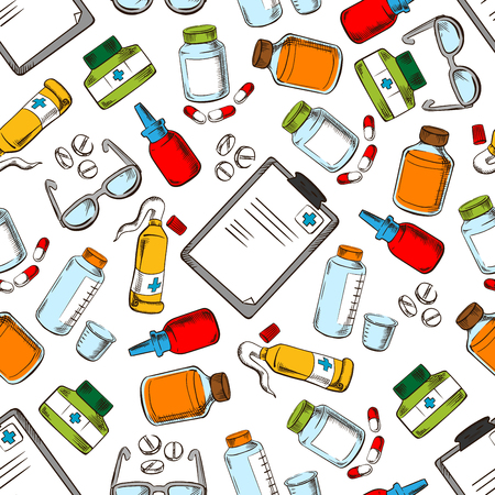 ointment: Medical seamless background. Wallpaper with vector pattern icons of ophthalmology supplies and medications eye drops, dropper, ointment, pills, vial, glasses, prescription Illustration