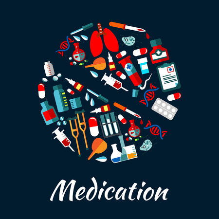 Medication poster with icons set in pill shape. Medical vector elements. Hospital infographic with icons of health care equipment dropper, syringe, scalpel, pill, stethoscope, blood, ointment
