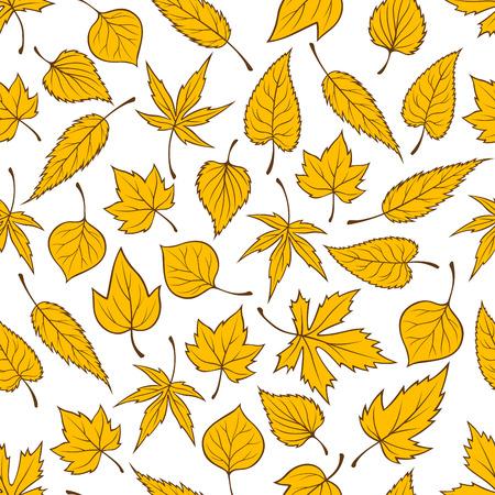 elm: Yellow falling leaves seamless pattern background. Autumn foliage wallpaper with vector elements of maple, birch, aspen, elm, poplar