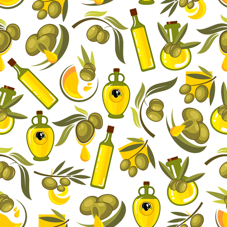 Green olives branches and olive oil seamless background. Wallpaper with vector patterns for kitchen decoration, tile, tablecloth. Greek, spanish, italian cuisine decoration Ilustração