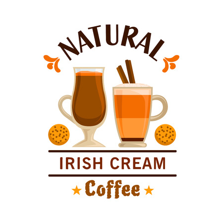 signboard design: Coffee Irish Cream and cookies. Cafe emblem vector design for label, promo icon, cafeteria signboard, fast food menu, coffee shop