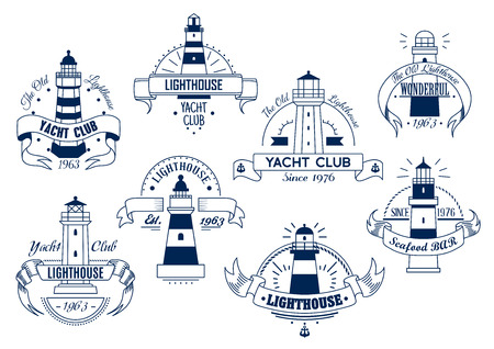 hotel resort: Lighthouse. Yacht Club and Bar isolated emblems set. Nautical sketch insignia badge with elements of ribbon, text for sport club, restaurant, eatery, hotel, resort sign