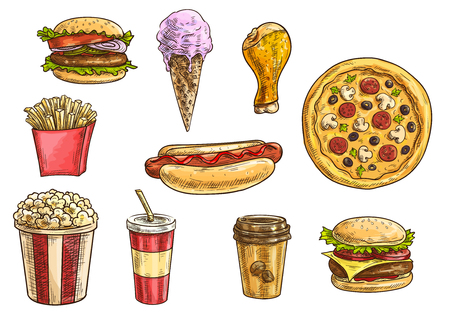 Fast food snacks and desserts sketch icons. Isolated vector elements of cheeseburger, hamburger, hot dog, french fries in box, pizza, chicken leg, ice cream cone, popcorn, soda drink, coffee cup