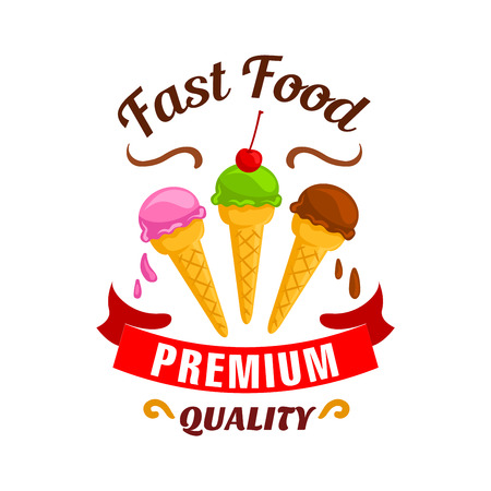 eatery: Fast food dessert label design. Ice cream elements with cherry topping. Vector premium emblem of ice-cream in cones for restaurant, eatery menu, signboard, poster
