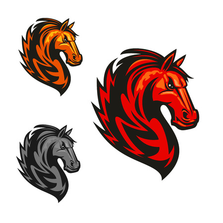 Furious and proud horse stallion emblem.