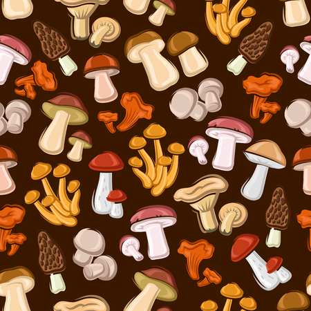 boletus: Mushrooms seamless background. Wallpaper with vector pattern of forest edible mushroom icons morel, champignon, porcini, cep, chanterelle, honey agaric, milk mushroom, lactarius, boletus