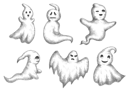 Cartoon halloween funny ghosts icons. Sketch vector characters of cute and scary spooks and bogeys with face expressions for decoration Иллюстрация