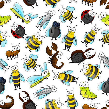 stag beetle: Cartoon cute smiling bugs and insects. Funny kid seamless wallpaper with colorful vector characters of bumblebee, bee, mosquito, caterpillar, ladybug, dragonfly, ladybird, stag beetle, wasp, fly, ant