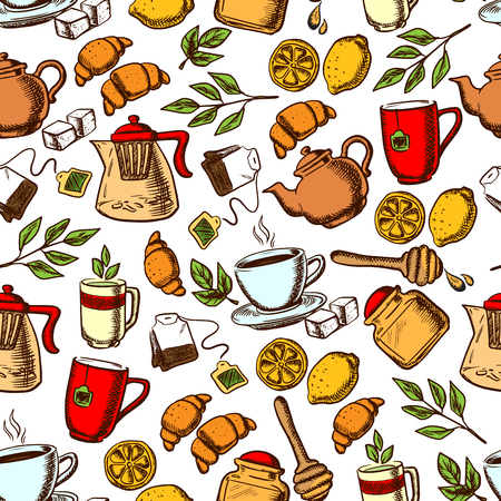 teatime: Teatime seamless background. Wallpaper with vector pattern icons of tea, dessert, sweets, teapot, croissant, cup, honey sticks, lemon, sugar tea leaves