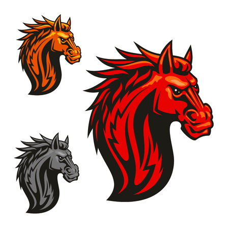 Fierce powerful horse head chess stylized emblems set. Vector icons of spiky fire mane for sport club emblem, team shield, icon, badge, label, tattoo