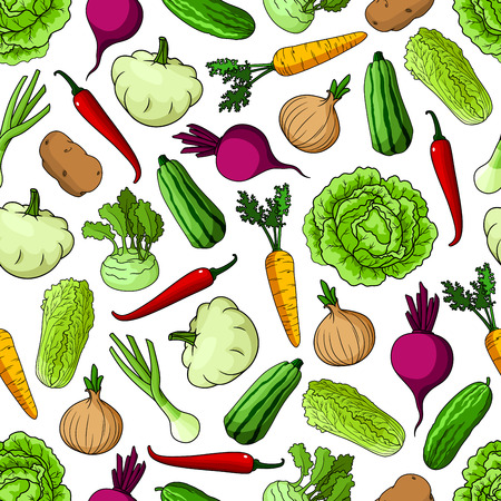 food market: Vegetables seamless background. Wallpaper with pattern of fresh farm vegetarian food cucumber, napa, cabbage, beet, onion, squash, zucchini, kohlrabi for grocery store, food market, restaurant, menu shop