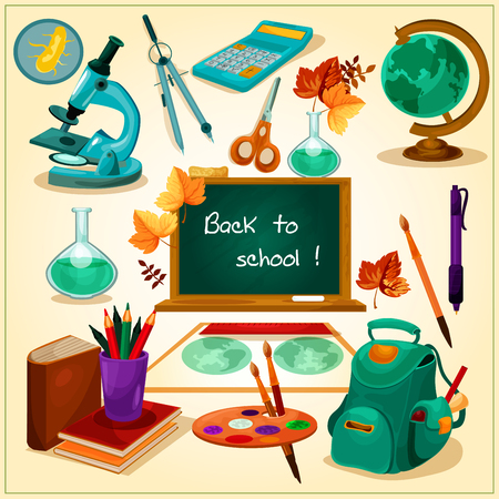 sale icons: Back to School poster. School supplies and stationery vector icons and elements. Green blackboard, globe, backpack, books, microscope, watercolor paints for welcome banner, shop sale banner