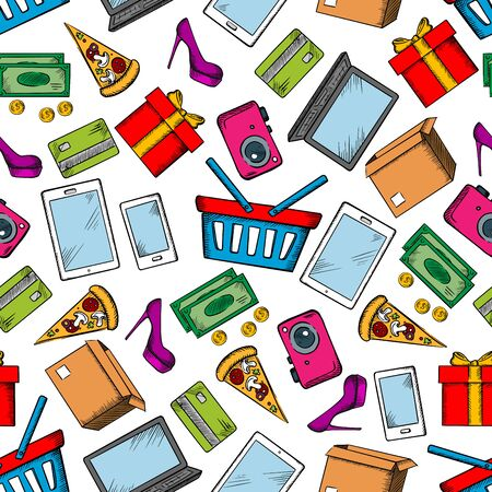 gift basket: Shopping and leisure seamless background with pattern of vector sketch icons credit card, money, high heels, basket, banknote, dollar, gift, smartphone, laptop, pad, pizza, coin camera delivery box Illustration