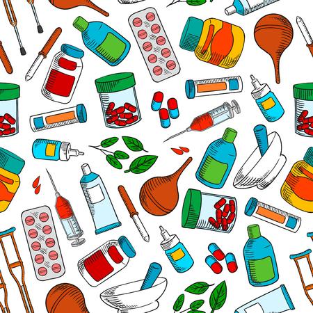 alternative medicine: Medical treatments seamless background.