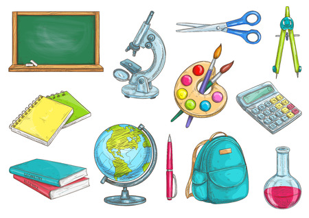watercolor pen: Back to school school supplies icons. Vector sketch elements of chalk blackboard, microscope, copybook, textbook, watercolor paint brushes, globe, pen, rucksack, chemical flask, scissors compass calculator