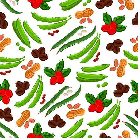 kitchen tile: Vegetables, nuts, berries seamless background. Wallpaper with pattern of bean pods, peas, peanuts, berries, coffee beans. Kitchen and market store decoration tile Illustration