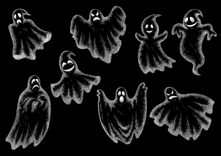 bogey: Halloween funny comic ghosts icons. Chalk cartoon bogey and spooks characters on blackboard with face expressions smiling, laughing, scared, angry, indifferent, serious, shy, dancing, levitating