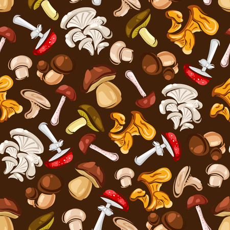 cep: Forest Mushrooms seamless background. Wallpaper with vector pattern icons of amanita, champignon, lactarius, boletus, porcini, milk mushroom, lactarius, boletus Illustration