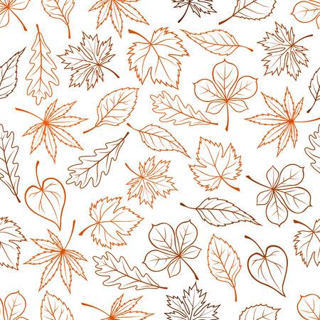 葉は、シームレスな背景を概説します。リーフ シルエット アイコン メープル、オーク、バーチ、アスペン、栗、エルム、ポプラのベクトル パター
