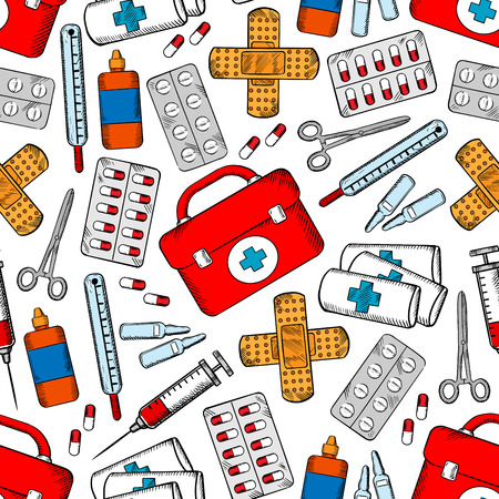 an ampoule: Medical seamless background. Medicine wallpaper with vector pattern icons of first aid equipment and medications pill, bandage, ampoule, syringe, liquid, dropper, thermometer, capsule, patch