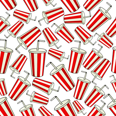 eatery: Coke paper cup seamless background. Classic red striped cup with drinking straw and lid. Fast food drink vector wallpaper decoration for restaurant, eatery menu