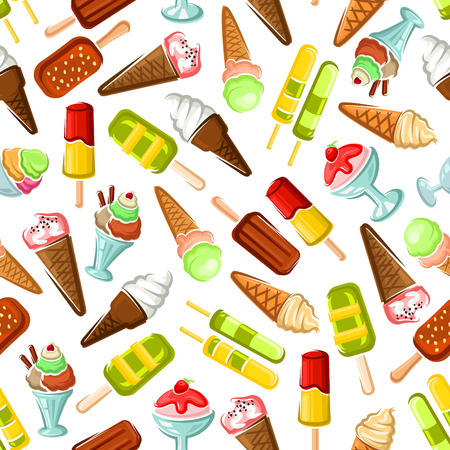 gelato: Ice cream seamless wallpaper. Background with pattern of color ice cream desserts. Eskimo pie, slushie, frozen ice, sorbet, gelato, sundae, scoops in cones and cups for cafe or restaurant menu, decoration Illustration