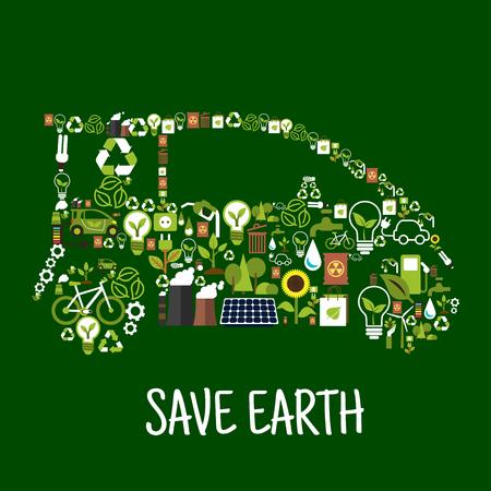 coche ecológico símbolo conceptual compuesto de turbina eólica energía verde y el panel solar, signos de reciclaje, las bombillas con las hojas verdes, coches eléctricos, bio combustible, agua, plantas, árboles, flores, plantas industriales contaminación y los desechos radiactivos iconos planos