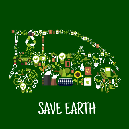 bio fuel: Eco car conceptual symbol composed of green energy wind turbine and solar panel, recycling signs, light bulbs with green leaves, electric cars, bio fuel, water, plants, trees, flowers, industrial plants pollution and radioactive wastes flat icons