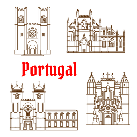 gothic architecture: Portuguese travel landmarks of religious architecture thin line symbol with gothic Batalha Monastery, romanesque Porto Cathedral, catholic Patriarchal Cathedral of St. Mary Major in Lisbon and Monastery of the Holy Cross in Coimbra