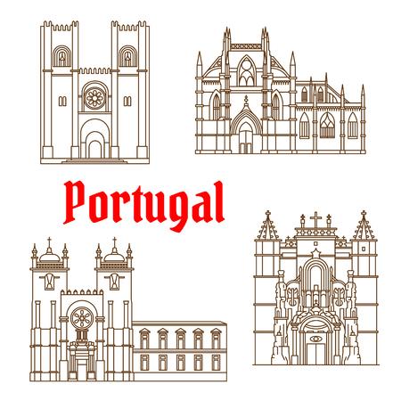 Repères de voyage portugais de l'architecture religieuse mince symbole de ligne avec monastère gothique Batalha, la cathédrale romane Porto, catholique cathédrale patriarcale de Sainte Marie Majeure à Lisbonne et le monastère de la Sainte Croix à Coimbra Banque d'images - 61439782