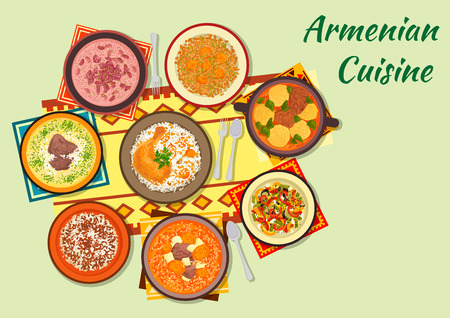 armenian: Armenian cuisine icon with dumpling soup, baked chicken stuffed with rice and dried fruit, beef soup with dried apricot, vegetable salad, rice with minced beef, bean soup, yoghurt soup, lentil salad Illustration