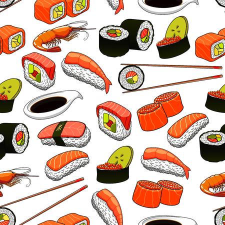 Japanische Sushi-nahtlose Hintergrund mit Muster von Rollen und Nigiri-Sushi mit Lachs, Thunfisch, roter Kaviar, Avocado und Lotuswurzeln, serviert mit Stäbchen und Sojasoße Standard-Bild - 61439780