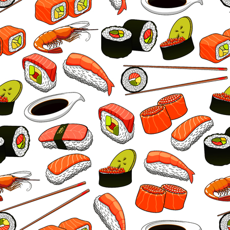 Japanese sushi seamless background with pattern of rolls and nigiri sushi with salmon, tuna, red caviar, avocado and lotus roots, served with chopsticks and soy sauce
