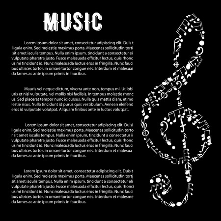 music symbol: Black and white musical banner with treble clef symbol, created of musical notes, bass clefs, key signatures, chords, pauses with text layout. Music and arts infographics design template