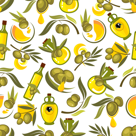 Seamless pattern of healthy organic italian olive oil in glass bottles and jars on white background with branches of olive tree, ripe green fruits and oil drops. Agriculture theme or kitchen interior design