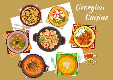 georgian: Georgian cuisine icon of chicken liver with pomegranate, walnut beef soup, eggplants with satsivi, lamb and potato stew, apple paprika salad, chicken eggs soup, pepper stew, tkemali and adjika sauce
