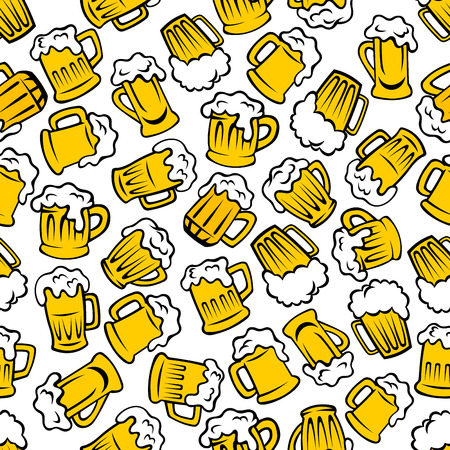 ale: Beer beverages retro cartoon pattern with seamless background of mugs and tankards full of light beer, lager and ale drinks. Use as pub or brewery promotion design