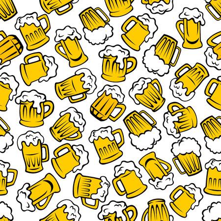 Cerveza bebidas no carbonatadas retro patrón de dibujos animados con fondo transparente de las tazas y jarras llenas de cerveza ligera, cerveza y bebidas de cerveza. Utilizar como pub cervecería o promoción del diseño