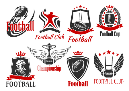 goal post': American football and rugby sporting badges of balls, player, trophy cup, goal post frames and helmet, supplemented by heraldic shields, wreath and ribbon banners, stars, wings and crowns Illustration