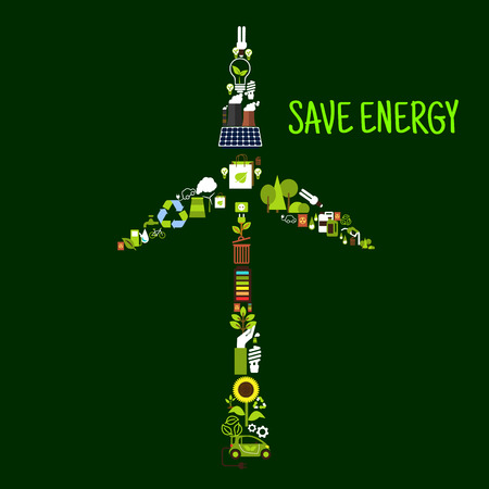 wastes: Save energy banner with wind turbine symbol formed of electric cars, solar panel, recycling signs, saving energy light bulbs, green plants, trees and leaves, biofuel, bicycles, batteries, fuming indastrial pipes and radioactive wastes flat icons Illustration