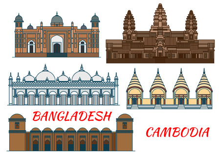 Angkor Wat Ancient temple in Cambodia thin line icon with ornate Star Mosque, fortified complex Lalbagh Fort, muslim Sixty Dome Mosque and hindu Dhakeshwari National Temple in Bangladesh. Travel theme