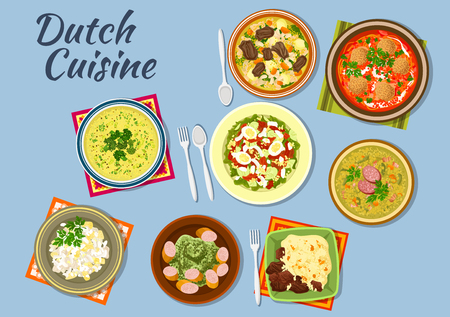 meat soup: Dishes of dutch cuisine with salmon and egg salad, tomato soup with bitterballens, pea soup snert, stamppot potato with sausage, bean soup, diced beef with vegetables, green soup with herbs and meat salad with pineapple Illustration