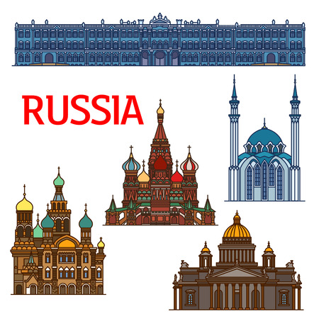 savior: Famous travel landmarks of Russia linear icon of ornamental orthodox Cathedral of Vasily the Blessed and Church of the Savior on Spilled Blood, Saint IsaacCathedral, Winter Palace, Qolsharif Mosque