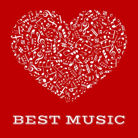 clave de fa: M�sica de su coraz�n y la armon�a del s�mbolo de amor con la nota musical, clef agudos y graves, el descanso, los acordes y armadura dispuesta en forma de un coraz�n. dise�o musical