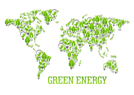 resource: Green energy world map symbol of energy saving light bulbs with leaves and sprouts of green plants composing a silhouette of the surface of the Earth. Ecology and energy saving themes design Illustration